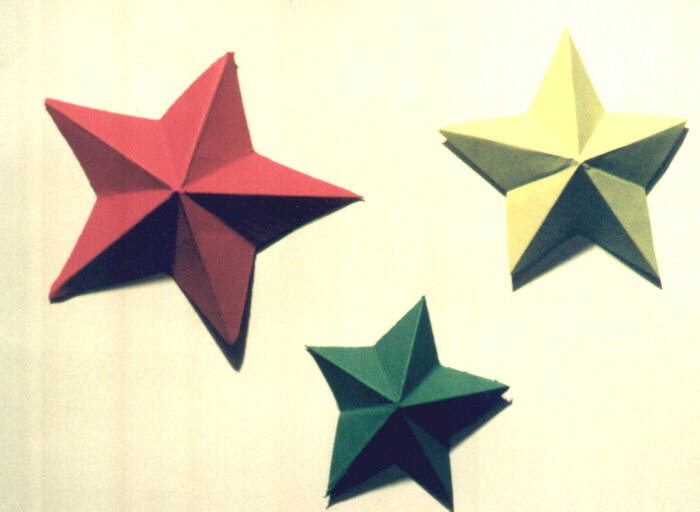 Picture of finished paper 5 point stars.