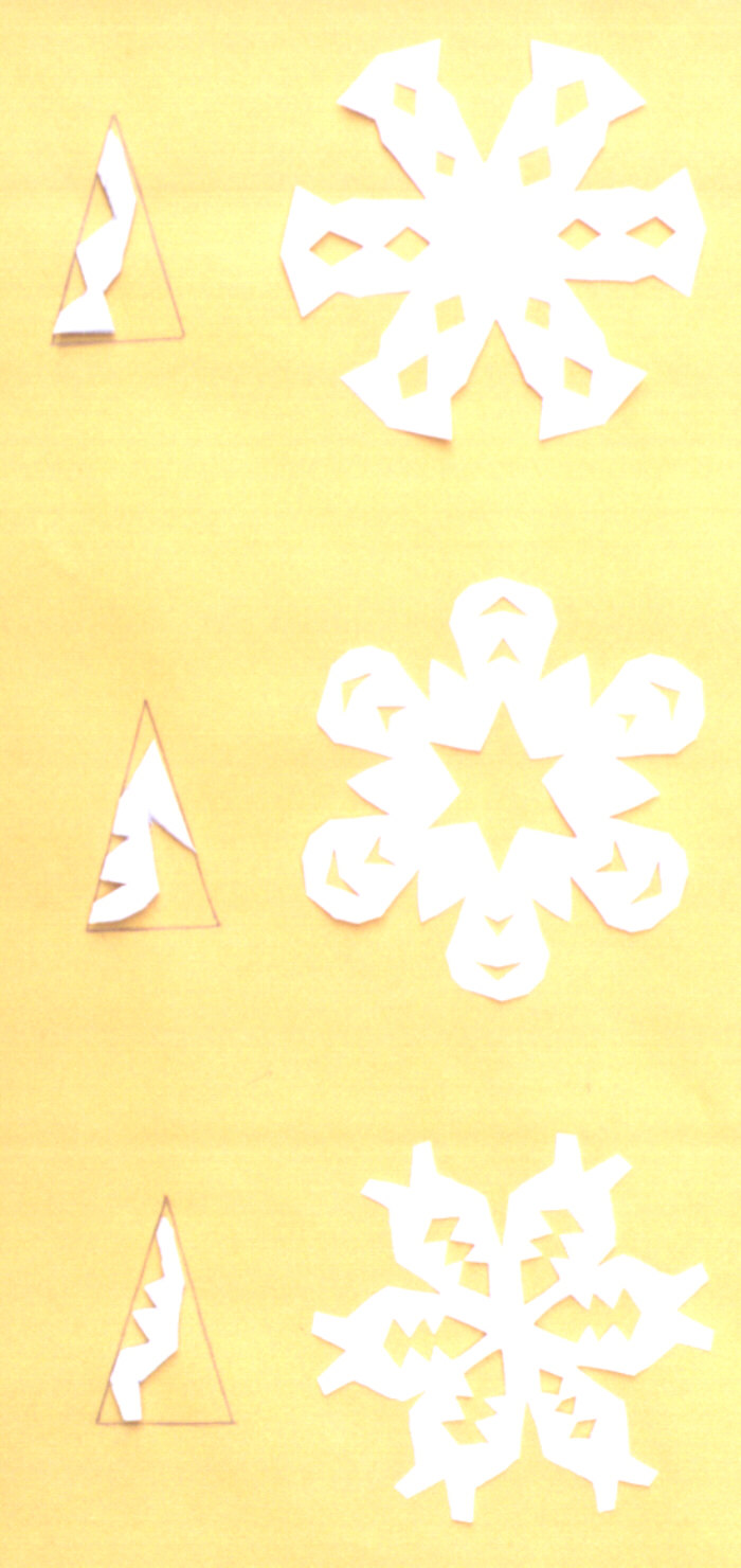 Picture of different paper snowflake cuts.