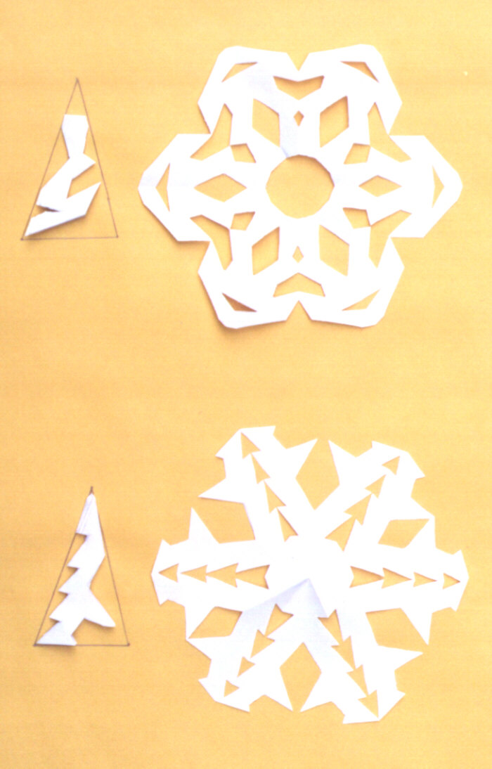 Picture of finished paper snowflakes.